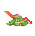 cash loss graph finance inflation schedule money vector image