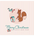 christmas and new year forest animal cartoon card vector image vector image