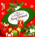 christmas greeting poster with santa gift bag vector image vector image