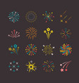 colored explosions fireworks set bright blue vector image