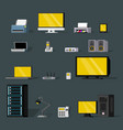 colorful wireless technology objects set vector image vector image