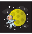 cute baby astronaut and moon vector image