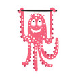 cute cartoon pink octopus character training on a vector image vector image