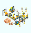 factory isometric industrial machinery production vector image vector image