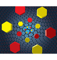 Falling colorful hexes vector image