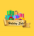 five star holiday sale gold ribbon gift boxes vector image vector image