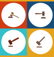 flat icon hammer set of legal justice tribunal vector image vector image