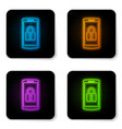 glowing neon smartphone with closed padlock icon vector image vector image