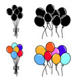 group balloon hand draw vector image vector image