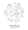 Hand drawn doodle sketch set of bags vector image vector image