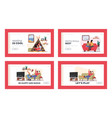 happy family sparetime landing page template set vector image vector image