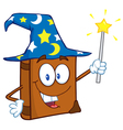 happy spell book with a wizard hat and magic wand vector image