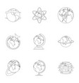home world icons set outline style vector image