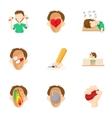 Human feelings icons set cartoon style vector image vector image
