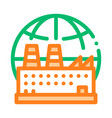 industrial factory planet thin line icon vector image