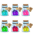 jars with colorful crystals in cartoon style vector image
