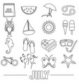 july month theme set of simple outline icons eps10 vector image