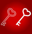 key with heart shape line and glyph icon vector image