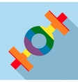 Lesbian rainbow sign icon flat style vector image vector image