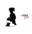 little child baby little girl sitting on a pot vector image vector image