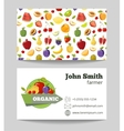 Organic fruits farmer business card template vector image