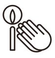 praying hands and candle icon vector image vector image