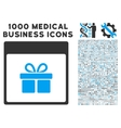 Present Box Calendar Page Icon With 1000 Medical vector image vector image