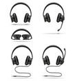 realistic black headphones stock vector image