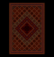 Rug with colored ornament in maroon and red shades vector image vector image