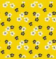 sakura flower blossom seamless pattern on yellow vector image vector image