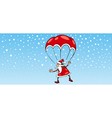 santa claus on parachute greeting card vector image