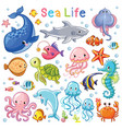 sea animal in children style vector image vector image