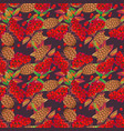 seamless pattern with rowan and cones vector image