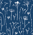 seamless pattern with silhouettes of flowers and vector image