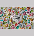 set easter theme items objects vector image