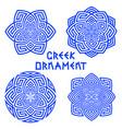 set of blue design elements with greek motifs vector image vector image