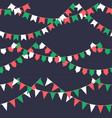 set of garland with celebration flags chain green vector image vector image