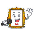 singing picture frame mascot cartoon vector image