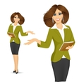 smiling businesswoman showing something vector image vector image