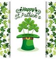 st patrick celebration with hat and clovers vector image vector image