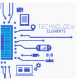technology elements circuits white background vect vector image vector image