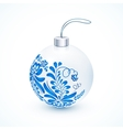 White Christmas ball with blue gzhel floral vector image vector image