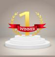 winner award on victory pedestal 1st place vector image vector image