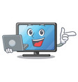 With laptop lcd tv cartoon in living room