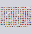 world national round flags europe america and vector image