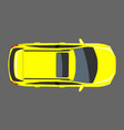 yellow car top view flat and solid color style vector image vector image