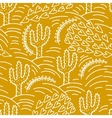 seamless hand-drawn pattern with cactus and desert vector image
