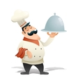 Happy Smiling Male Chief Cook Serving Dish Symbol vector image