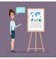 business woman pointing at a chart board creative vector image