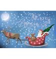 Merry Christmas post card with flying Santa Claus vector image